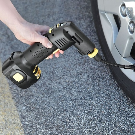 Using Cordless Tire Inflator